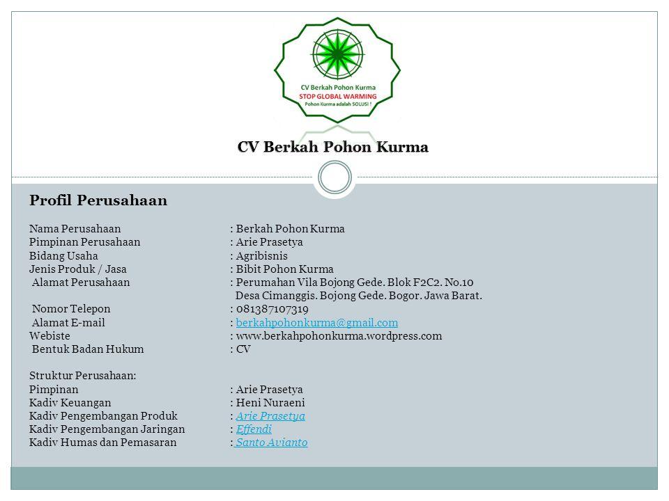 Profil Perusahaan Nama Perusahaan: Berkah Pohon Kurma Pimpinan Perusahaan: Arie Prasetya Bidang Usaha: Agribisnis Jenis Produk / Jasa: Bibit Pohon Kur