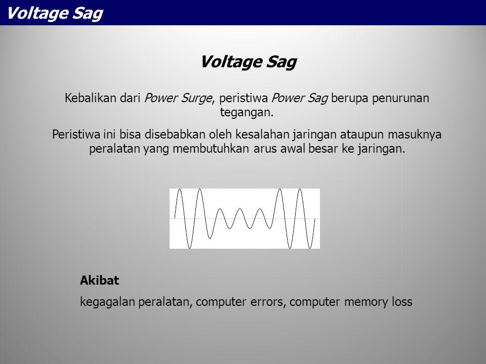 Voltage Sag Kebalikan dari Power Surge, peristiwa Power Sag berupa penurunan tegangan. Peristiwa ini bisa disebabkan oleh kesalahan jaringan ataupun m