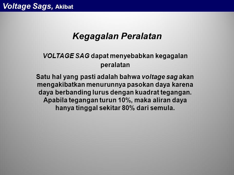 VOLTAGE SAG dapat menyebabkan kegagalan peralatan Satu hal yang pasti adalah bahwa voltage sag akan mengakibatkan menurunnya pasokan daya karena daya