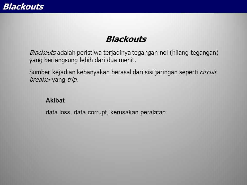 Akibat data loss, data corrupt, kerusakan peralatan Blackouts Blackouts adalah peristiwa terjadinya tegangan nol (hilang tegangan) yang berlangsung le
