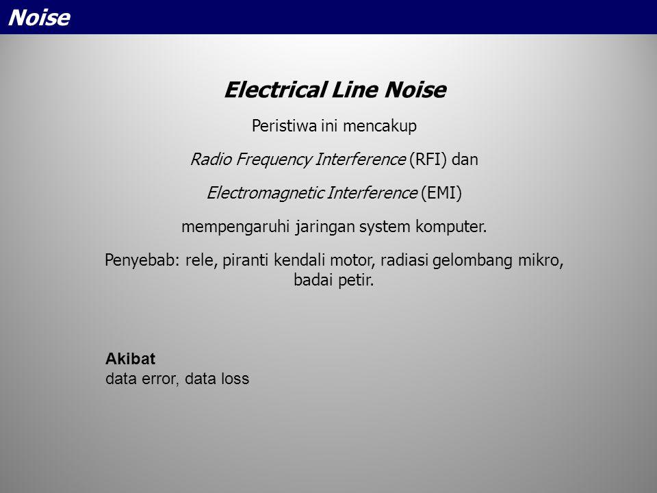 Electrical Line Noise Peristiwa ini mencakup Radio Frequency Interference (RFI) dan Electromagnetic Interference (EMI) mempengaruhi jaringan system ko
