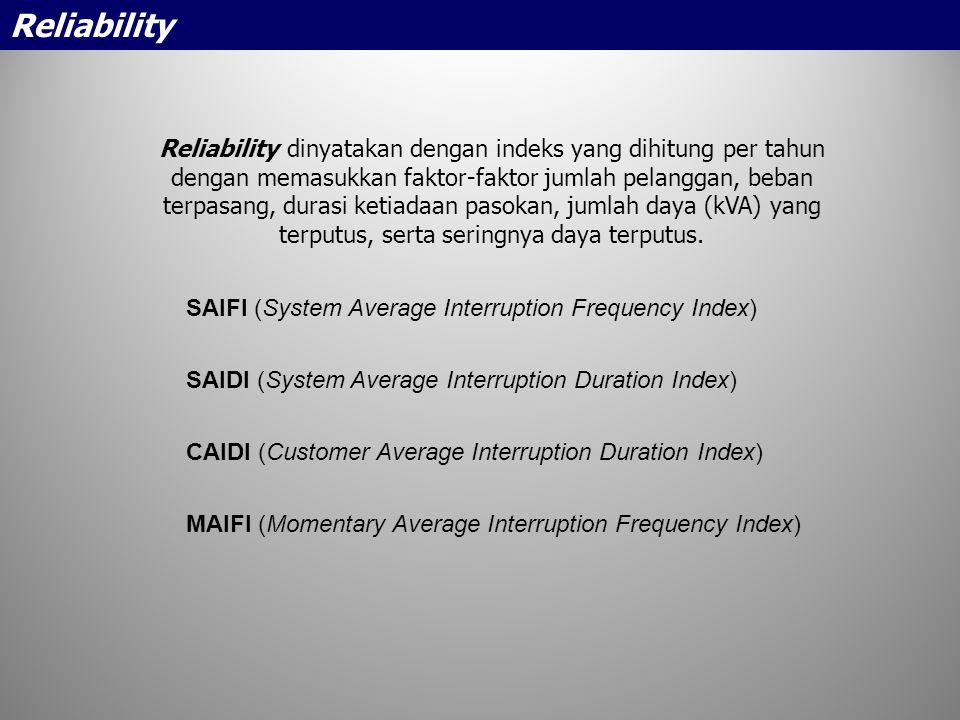 Reliability dinyatakan dengan indeks yang dihitung per tahun dengan memasukkan faktor-faktor jumlah pelanggan, beban terpasang, durasi ketiadaan pasok
