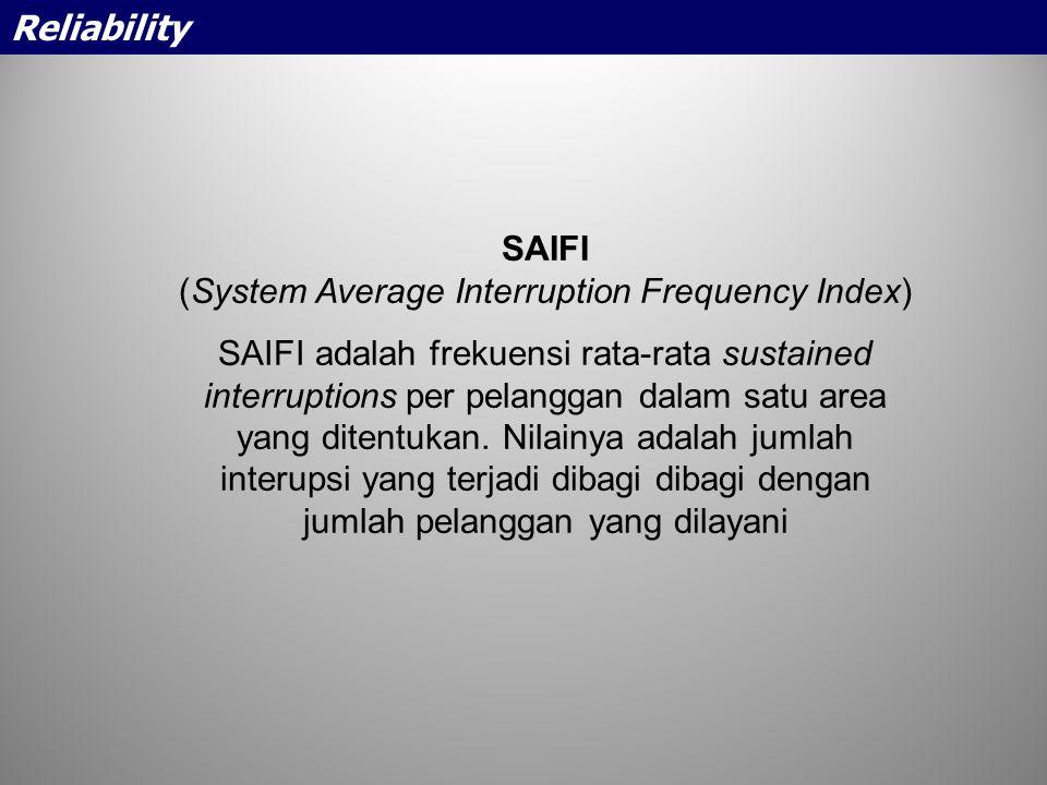 SAIFI (System Average Interruption Frequency Index) SAIFI adalah frekuensi rata-rata sustained interruptions per pelanggan dalam satu area yang ditent