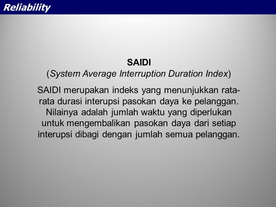 SAIDI (System Average Interruption Duration Index) SAIDI merupakan indeks yang menunjukkan rata- rata durasi interupsi pasokan daya ke pelanggan. Nila
