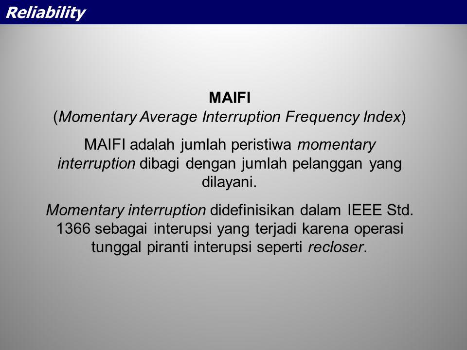 MAIFI (Momentary Average Interruption Frequency Index) MAIFI adalah jumlah peristiwa momentary interruption dibagi dengan jumlah pelanggan yang dilaya