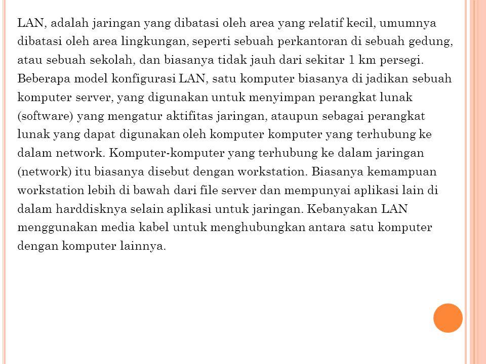 Keuntungan jaringan LAN a.File Sharing b. Printer Sharing c.