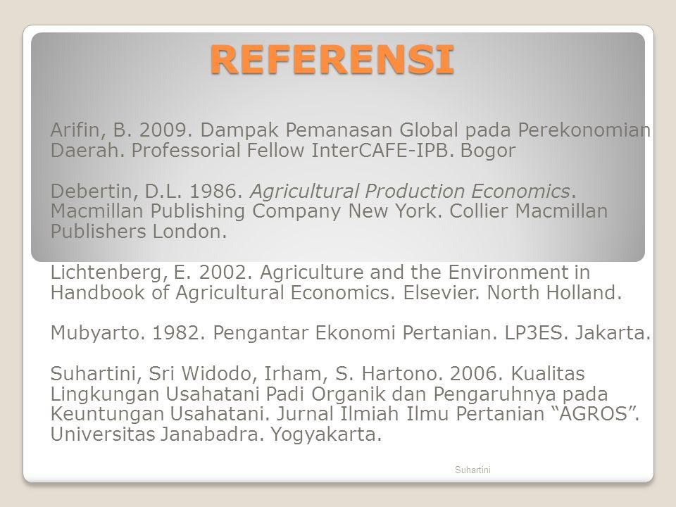 REFERENSI Arifin, B. 2009. Dampak Pemanasan Global pada Perekonomian Daerah. Professorial Fellow InterCAFE-IPB. Bogor Debertin, D.L. 1986. Agricultura