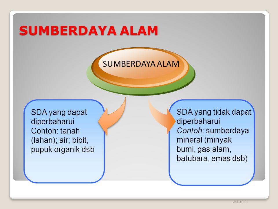 SUMBERDAYA ALAM Suhartini SDA yang tidak dapat diperbaharui Contoh: sumberdaya mineral (minyak bumi, gas alam, batubara, emas dsb) SDA yang dapat dipe