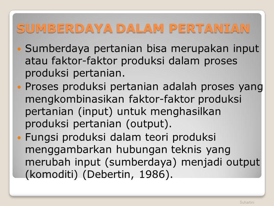 SUMBERDAYA DALAM PERTANIAN  Sumberdaya pertanian bisa merupakan input atau faktor-faktor produksi dalam proses produksi pertanian.  Proses produksi