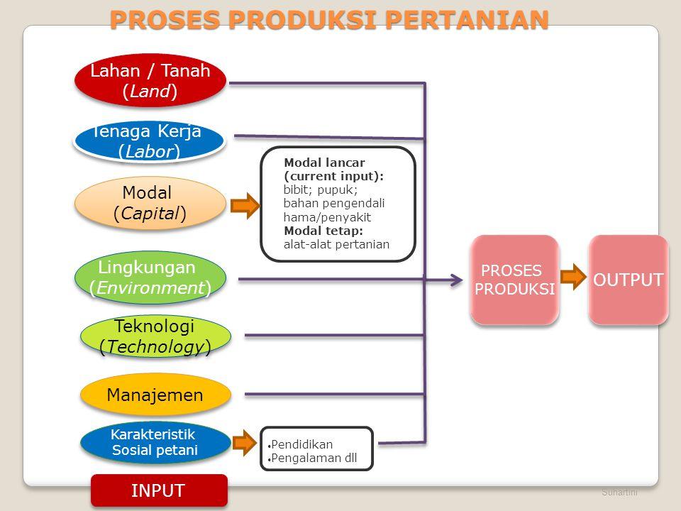Suhartini PROSES PRODUKSI PERTANIAN Lahan / Tanah (Land) Lahan / Tanah (Land) Tenaga Kerja (Labor) Tenaga Kerja (Labor) Modal (Capital) Modal (Capital