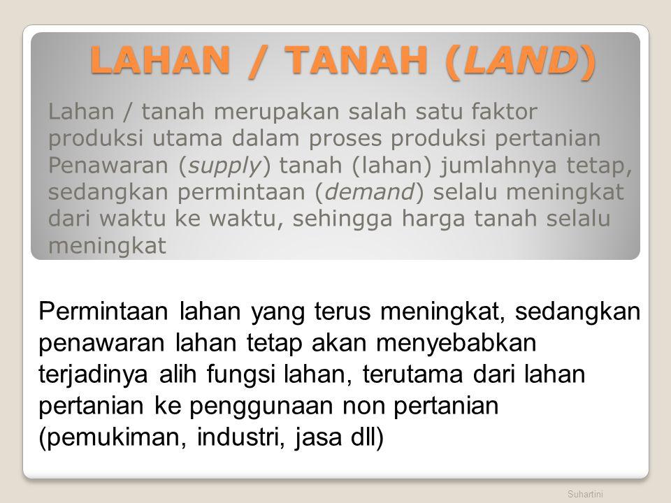 LAHAN / TANAH (LAND) Lahan / tanah merupakan salah satu faktor produksi utama dalam proses produksi pertanian Penawaran (supply) tanah (lahan) jumlahn