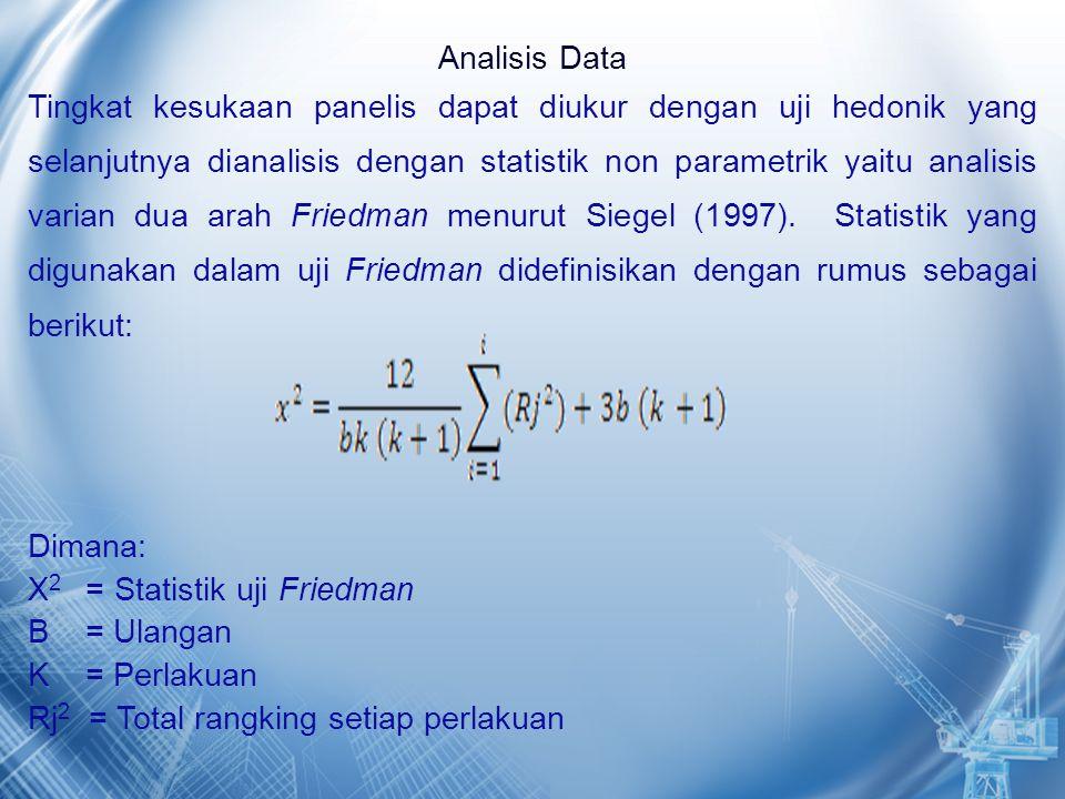 Analisis Data Tingkat kesukaan panelis dapat diukur dengan uji hedonik yang selanjutnya dianalisis dengan statistik non parametrik yaitu analisis varian dua arah Friedman menurut Siegel (1997).