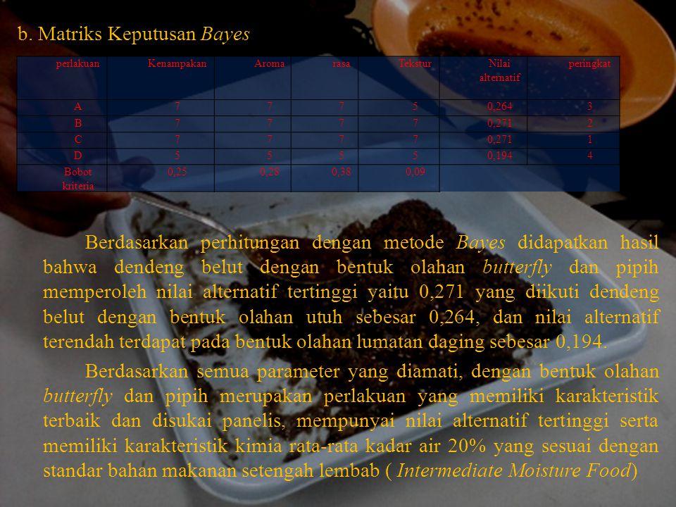 b. Matriks Keputusan Bayes Berdasarkan perhitungan dengan metode Bayes didapatkan hasil bahwa dendeng belut dengan bentuk olahan butterfly dan pipih m
