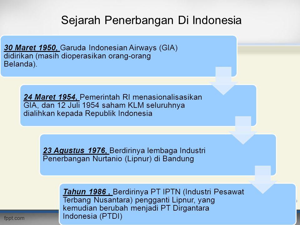 Sejarah Penerbangan Di Indonesia 30 Maret 1950, Garuda Indonesian Airways (GIA) didirikan (masih dioperasikan orang-orang Belanda). 24 Maret 1954, Pem
