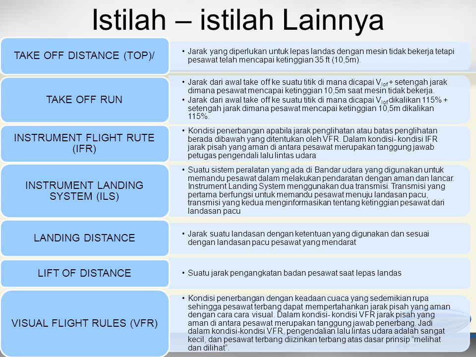Istilah – istilah Lainnya •Jarak yang diperlukan untuk lepas landas dengan mesin tidak bekerja tetapi pesawat telah mencapai ketinggian 35 ft (10,5m).