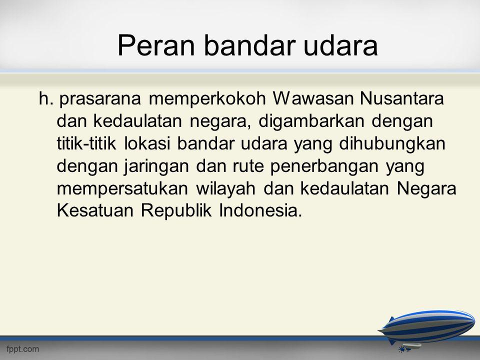 Peran bandar udara h. prasarana memperkokoh Wawasan Nusantara dan kedaulatan negara, digambarkan dengan titik-titik lokasi bandar udara yang dihubungk