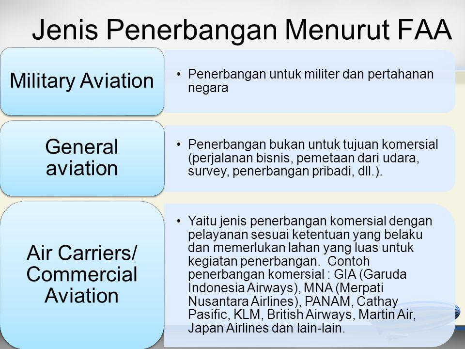 Jenis Penerbangan Menurut FAA •Penerbangan untuk militer dan pertahanan negara Military Aviation •Penerbangan bukan untuk tujuan komersial (perjalanan