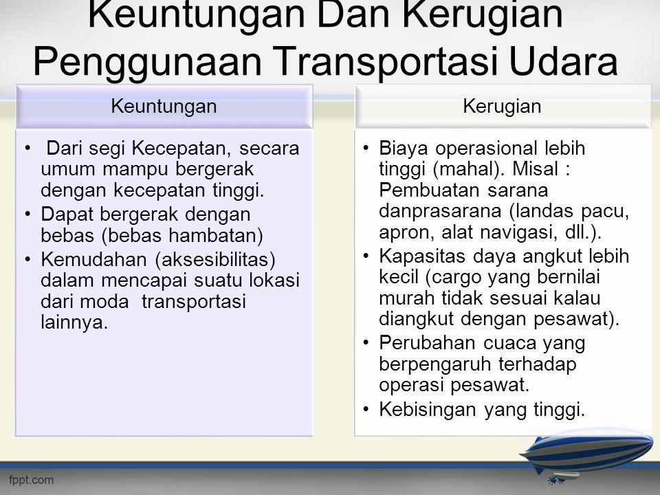 Keuntungan Dan Kerugian Penggunaan Transportasi Udara Keuntungan • Dari segi Kecepatan, secara umum mampu bergerak dengan kecepatan tinggi. •Dapat ber