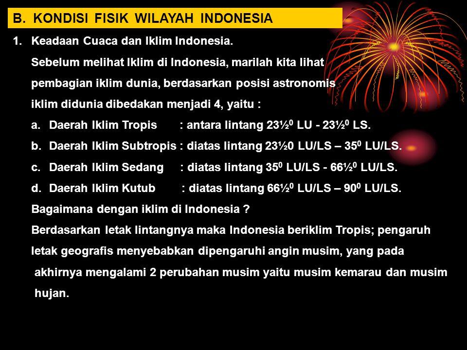 B. KONDISI FISIK WILAYAH INDONESIA 1.Keadaan Cuaca dan Iklim Indonesia. Sebelum melihat Iklim di Indonesia, marilah kita lihat pembagian iklim dunia,