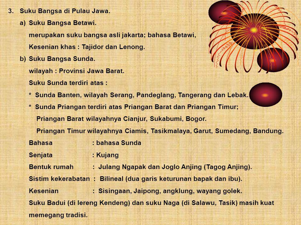 3.Suku Bangsa di Pulau Jawa. a)Suku Bangsa Betawi. merupakan suku bangsa asli jakarta; bahasa Betawi, Kesenian khas : Tajidor dan Lenong. b)Suku Bangs