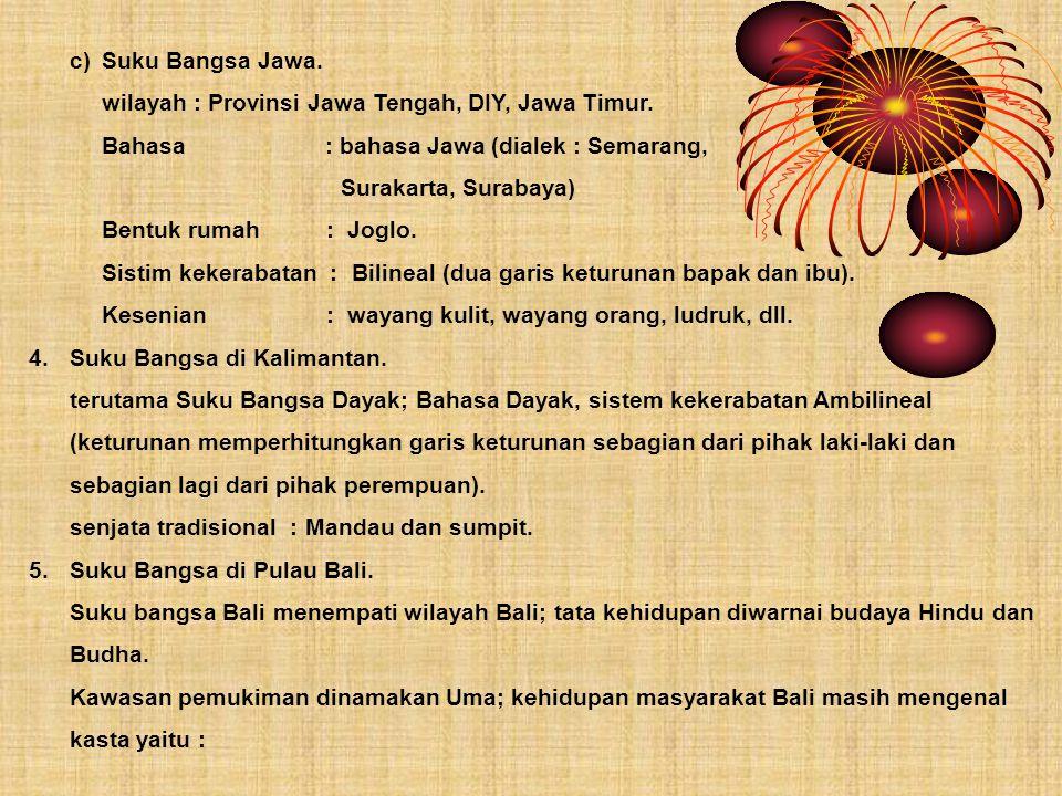 c)Suku Bangsa Jawa. wilayah : Provinsi Jawa Tengah, DIY, Jawa Timur. Bahasa : bahasa Jawa (dialek : Semarang, Surakarta, Surabaya) Bentuk rumah : Jogl