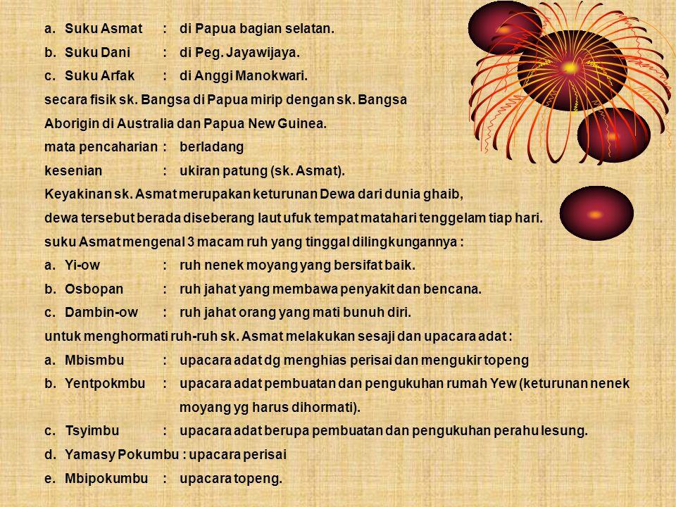 b.Suku Dani:di Peg. Jayawijaya. c.Suku Arfak:di Anggi Manokwari. secara fisik sk. Bangsa di Papua mirip dengan sk. Bangsa Aborigin di Australia dan Pa