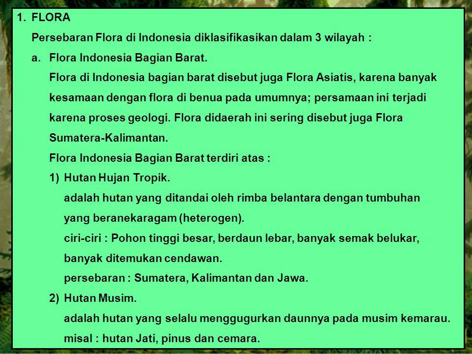 1.FLORA Persebaran Flora di Indonesia diklasifikasikan dalam 3 wilayah : a.Flora Indonesia Bagian Barat. Flora di Indonesia bagian barat disebut juga