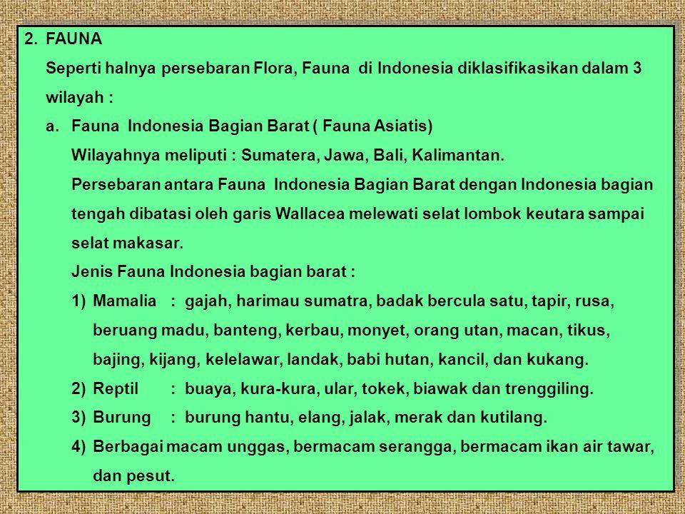 2.FAUNA Seperti halnya persebaran Flora, Fauna di Indonesia diklasifikasikan dalam 3 wilayah : a.Fauna Indonesia Bagian Barat ( Fauna Asiatis) Wilayahnya meliputi : Sumatera, Jawa, Bali, Kalimantan.