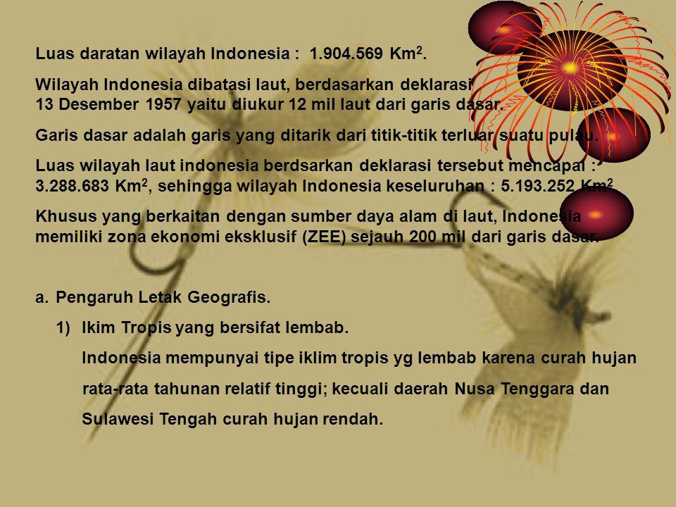 Luas daratan wilayah Indonesia : 1.904.569 Km 2.