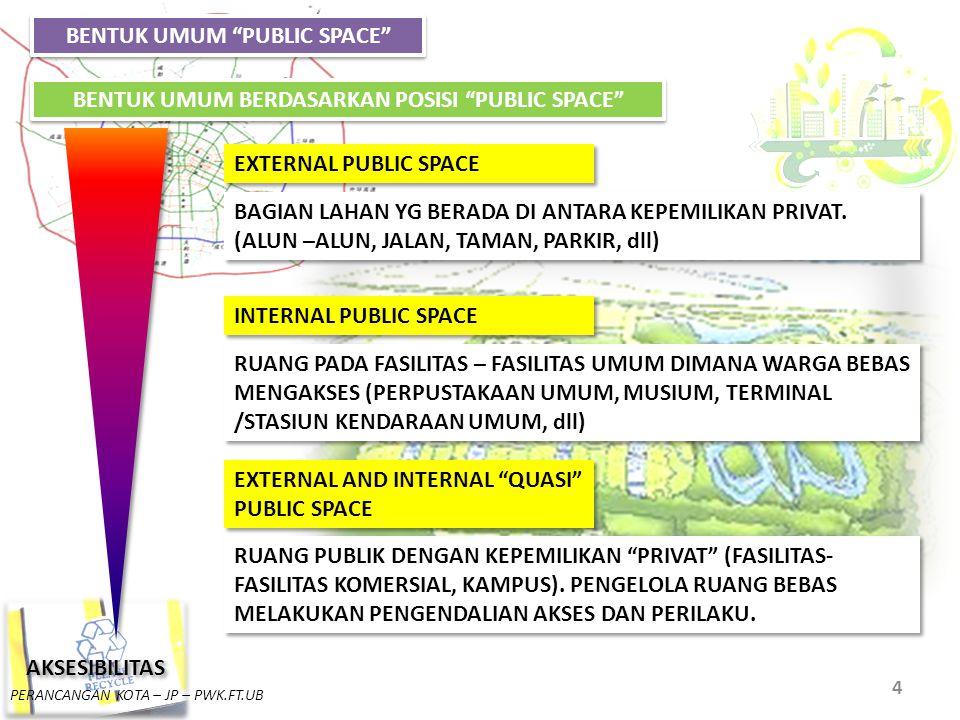 """PERANCANGAN KOTA – JP – PWK.FT.UB 4 BENTUK UMUM """"PUBLIC SPACE"""" EXTERNAL PUBLIC SPACE INTERNAL PUBLIC SPACE EXTERNAL AND INTERNAL """"QUASI"""" PUBLIC SPACE"""