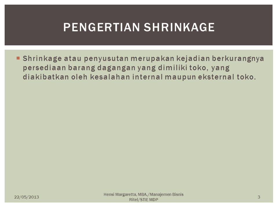  Shrinkage atau penyusutan merupakan kejadian berkurangnya persediaan barang dagangan yang dimiliki toko, yang diakibatkan oleh kesalahan internal ma