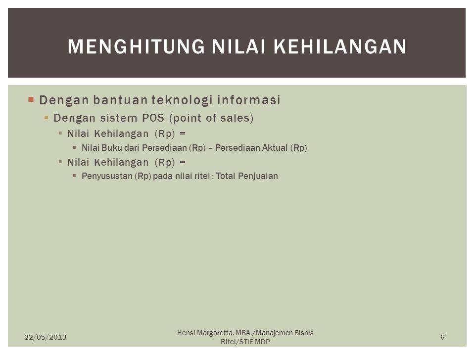  Dengan bantuan teknologi informasi  Dengan sistem POS (point of sales)  Nilai Kehilangan (Rp) =  Nilai Buku dari Persediaan (Rp) – Persediaan Akt