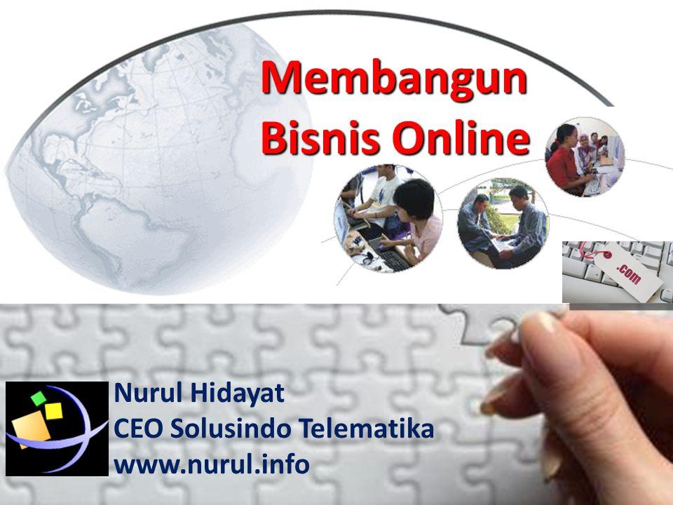 Nurul Hidayat •Owner & CEO Banyumaspromo.info •Owner & CEO Solusindo Telematika [nurul.info] •E-Learning Consultant [nurul.unsoed.net] •Online Media Strategist for: –Unsoed (Unsoed.net) –Pengajian Unsoed (pengajian.unsoed.net) –Kagama MKom (kagama.mkom.ugm.ac.id) •Past Experiences: –1995-1998: Direktur LPK Misykah Komputer –1999-2002: Ketua Jaringan Informasi Islam Jateng –2001-2002: Tim IT PPTK&KPT DIKTI –2004-2005: Software Developmnet UPT.