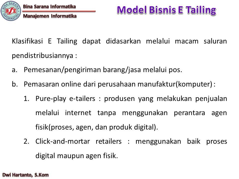 Klasifikasi E Tailing dapat didasarkan melalui macam saluran pendistribusiannya : a.Pemesanan/pengiriman barang/jasa melalui pos. b.Pemasaran online d