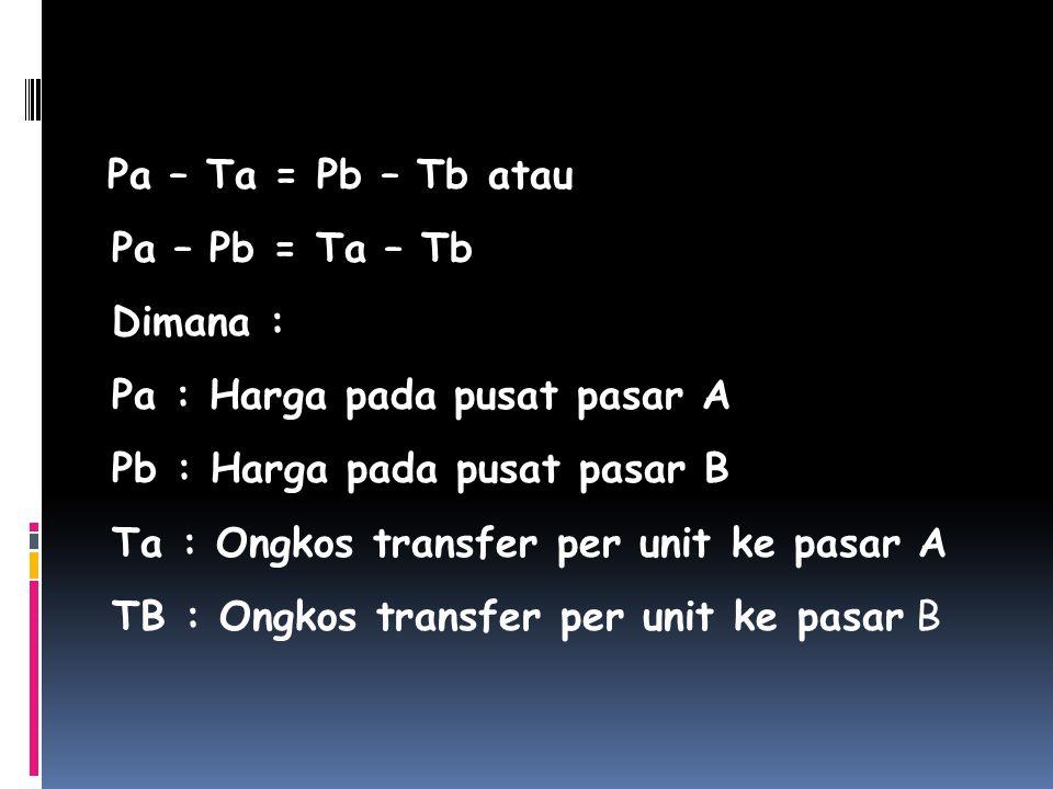 Pa – Ta = Pb – Tb atau Pa – Pb = Ta – Tb Dimana : Pa : Harga pada pusat pasar A Pb : Harga pada pusat pasar B Ta : Ongkos transfer per unit ke pasar A