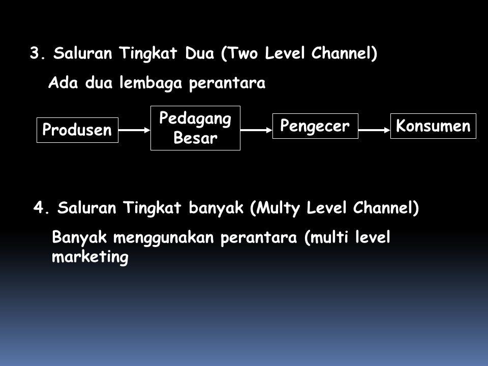 3. Saluran Tingkat Dua (Two Level Channel) Ada dua lembaga perantara Produsen PengecerKonsumen Pedagang Besar 4. Saluran Tingkat banyak (Multy Level C