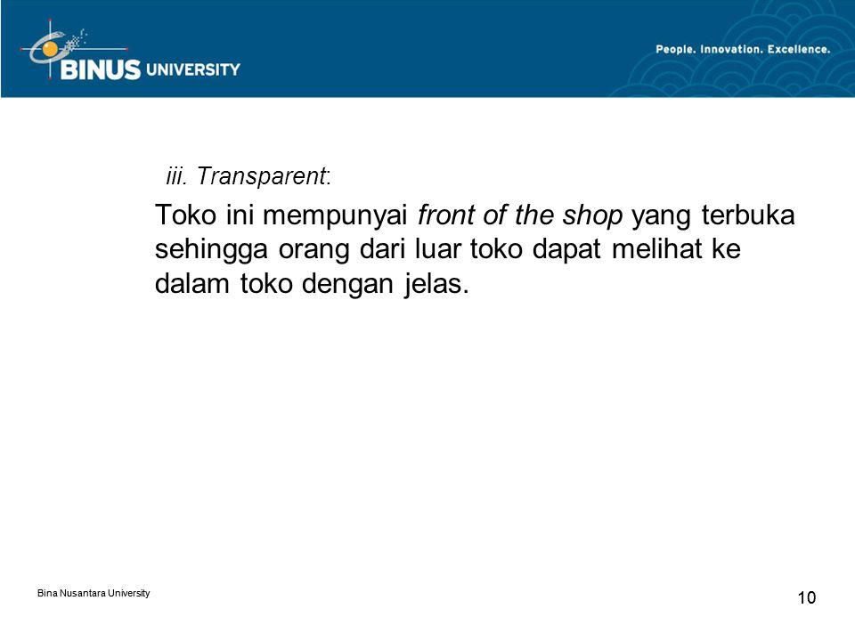 Bina Nusantara University 10 Bina Nusantara University 10 iii.