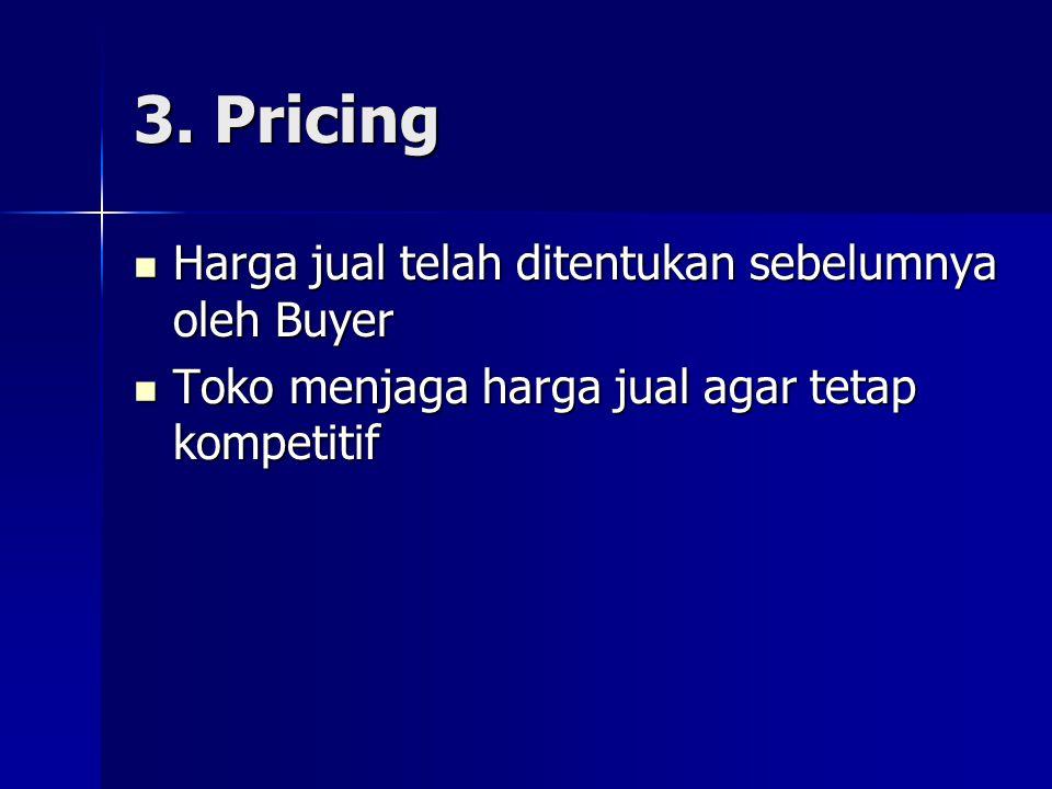 3. Pricing  Harga jual telah ditentukan sebelumnya oleh Buyer  Toko menjaga harga jual agar tetap kompetitif