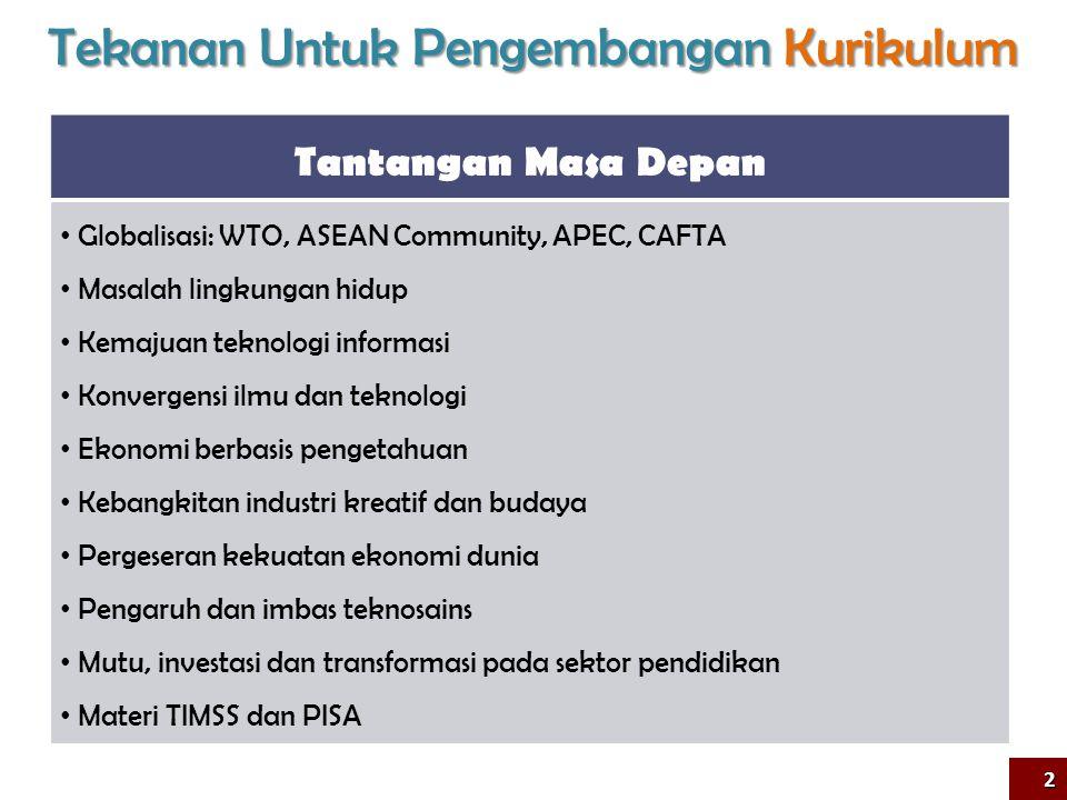 Tekanan Untuk Pengembangan Kurikulum Tantangan Masa Depan • Globalisasi: WTO, ASEAN Community, APEC, CAFTA • Masalah lingkungan hidup • Kemajuan tekno