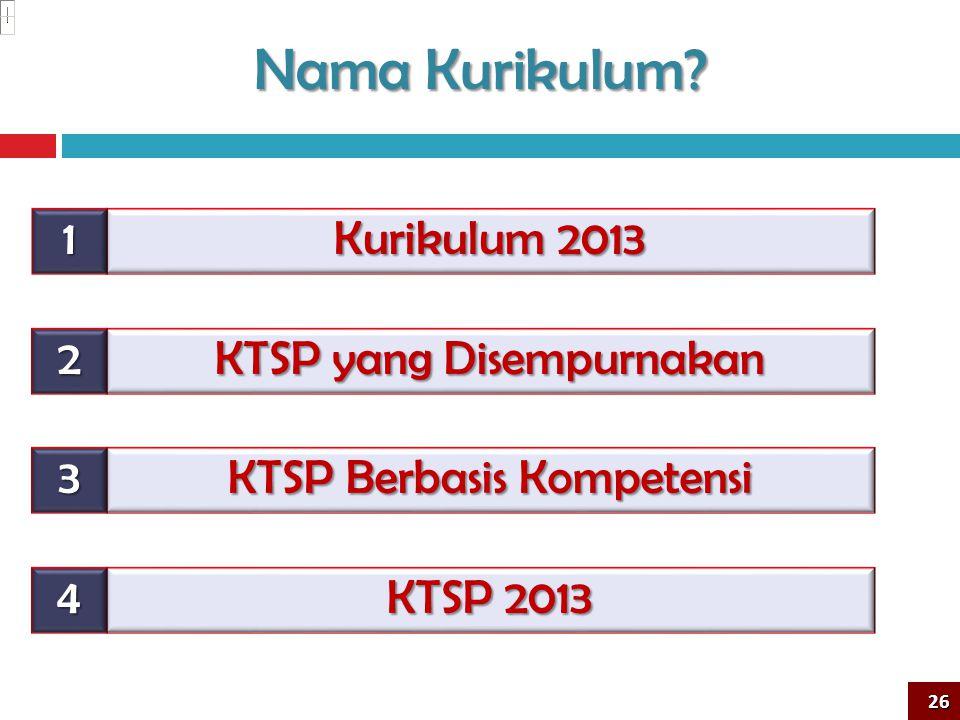 Kurikulum 2013 26 Nama Kurikulum? KTSP yang Disempurnakan KTSP Berbasis Kompetensi KTSP 2013 1 2 3 4