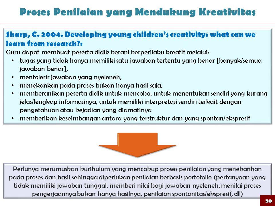 50 Proses Penilaian yang Mendukung Kreativitas Sharp, C. 2004. Developing young children's creativity: what can we learn from research?: Guru dapat me