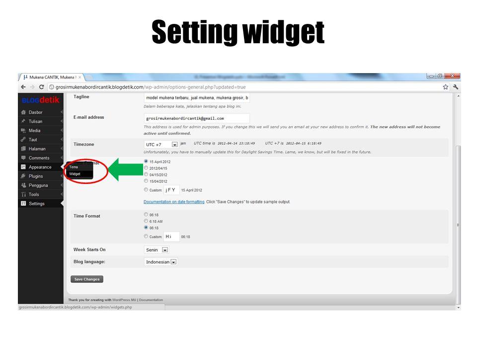Setting widget