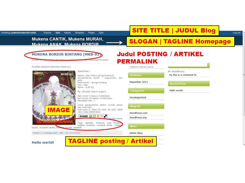 SITE TITLE | JUDUL Blog SLOGAN | TAGLINE Homepage Judul POSTING / ARTIKEL PERMALINK TAGLINE posting / Artikel IMAGE