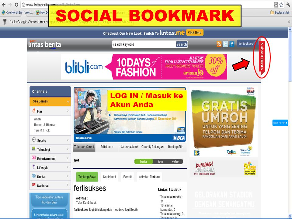 SOCIAL BOOKMARK LOG IN / Masuk ke Akun Anda