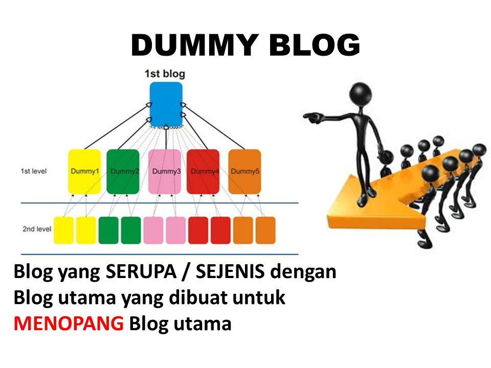 DUMMY BLOG Blog yang SERUPA / SEJENIS dengan Blog utama yang dibuat untuk MENOPANG Blog utama