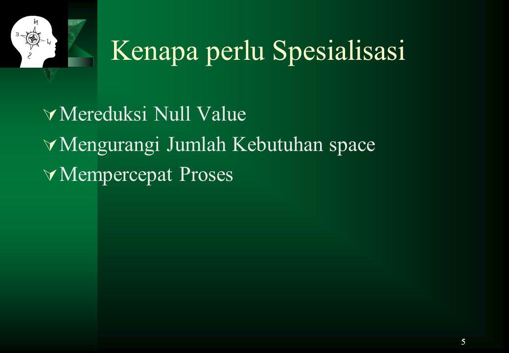 5 Kenapa perlu Spesialisasi  Mereduksi Null Value  Mengurangi Jumlah Kebutuhan space  Mempercepat Proses