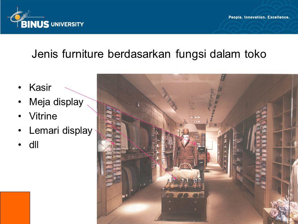 Jenis furniture berdasarkan Posisi dalam toko •Di Depan (front of the shop) •Di Tengah (lemari display,vitrine,dll) •Di belakang (Kasir,meja display, dll) front of the shop