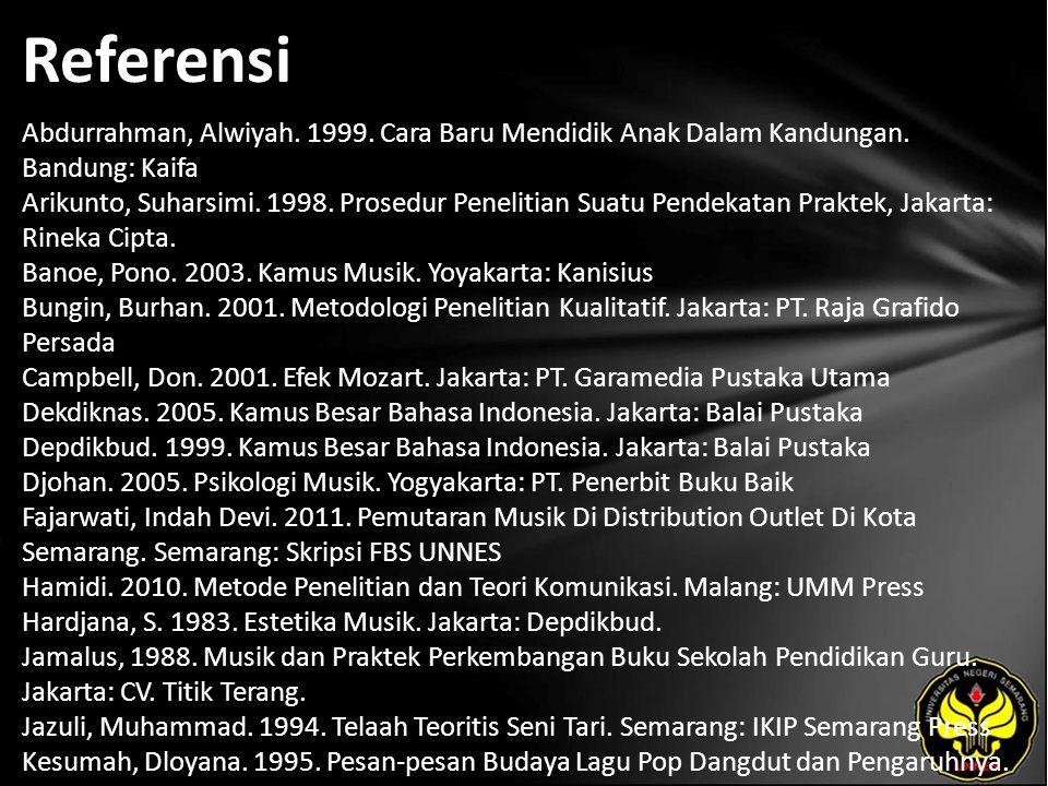 Referensi Abdurrahman, Alwiyah. 1999. Cara Baru Mendidik Anak Dalam Kandungan. Bandung: Kaifa Arikunto, Suharsimi. 1998. Prosedur Penelitian Suatu Pen
