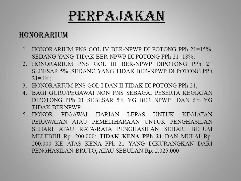 PERPAJAKAN HONORARIUM 1.HONORARIUM PNS GOL IV BER-NPWP DI POTONG PPh 21=15%, SEDANG YANG TIDAK BER-NPWP DI POTONG PPh 21=18%; 2.HONORARIUM PNS GOL III