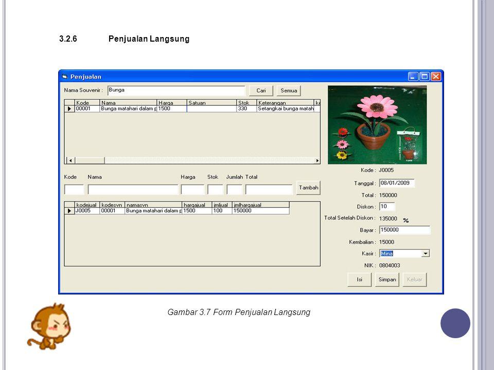 Gambar 3.7 Form Penjualan Langsung 3.2.6Penjualan Langsung